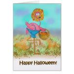 Pink Flamingo Happy Halloween Pumpkin Patch Farm C Greeting Card