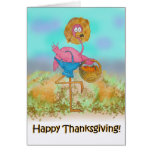 Pink Flamingo Happy Thanksgiving Pumpkin Patch Greeting Cards