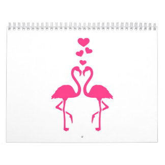 Pink flamingo hearts calendar