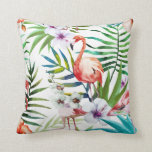 "Pink Flamingo Hibiscus &amp; Orchids tropical Throw Pillow<br><div class=""desc"">Pink Flamingo Hibiscus &amp; Orchids tropical</div>"