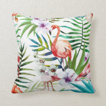 Pink Flamingo Hibiscus & Orchids tropical Throw Pillow