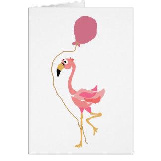 Pink Flamingo Holding Balloon Card