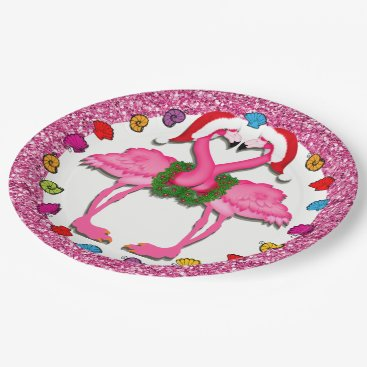 Beach Themed Pink Flamingo Holiday Party Goods Plate