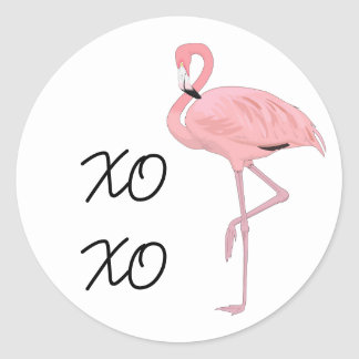 pink flamingo hugs and kisses classic round sticker