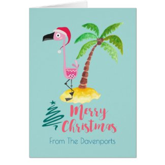 Pink Flamingo In A Santa Hat By A Palm Tree Card