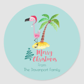 Pink Flamingo In A Santa Hat By A Palm Tree Classic Round Sticker