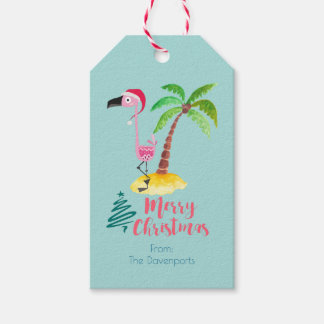 Pink Flamingo In A Santa Hat By A Palm Tree Gift Tags