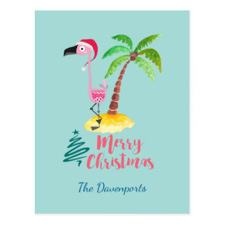 Pink Flamingo In A Santa Hat By A Palm Tree Postcard