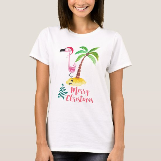 Pink Flamingo In A Santa Hat By A Palm Tree T-Shirt