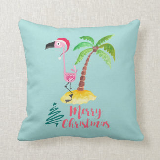 Pink Flamingo In A Santa Hat By A Palm Tree Throw Pillow