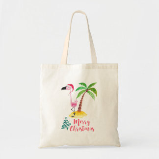 Pink Flamingo In A Santa Hat By A Palm Tree Tote Bag