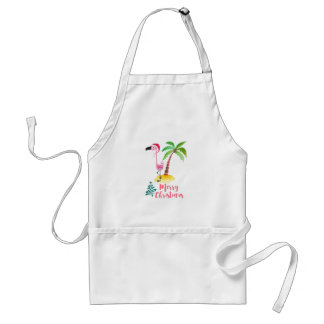 Pink Flamingo In A Santa Hat By A Palm Tree Xmas Adult Apron