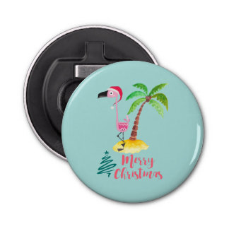 Pink Flamingo In A Santa Hat By A Palm Tree Xmas Bottle Opener