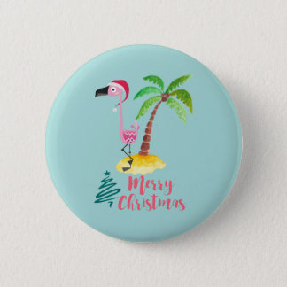 Pink Flamingo In A Santa Hat By A Palm Tree Xmas Button