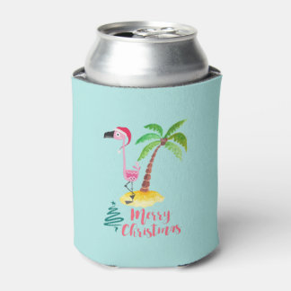 Pink Flamingo In A Santa Hat By A Palm Tree Xmas Can Cooler
