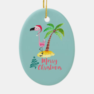 Pink Flamingo In A Santa Hat By A Palm Tree Xmas Ceramic Ornament