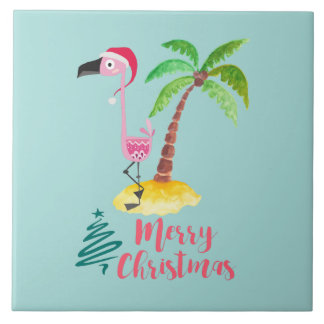 Pink Flamingo In A Santa Hat By A Palm Tree Xmas Ceramic Tile