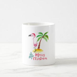 Pink Flamingo In A Santa Hat By A Palm Tree Xmas Coffee Mug