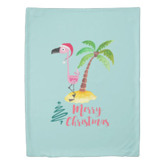 Pink Flamingo In A Santa Hat By A Palm Tree Xmas Duvet Cover
