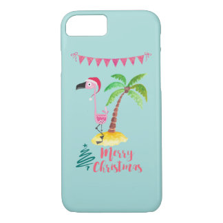 Pink Flamingo In A Santa Hat By A Palm Tree Xmas iPhone 8/7 Case