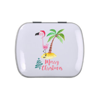 Pink Flamingo In A Santa Hat By A Palm Tree Xmas Jelly Belly Tins