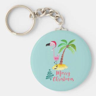 Pink Flamingo In A Santa Hat By A Palm Tree Xmas Keychain