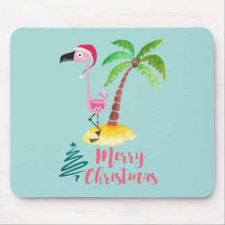 Pink Flamingo In A Santa Hat By A Palm Tree Xmas Mouse Pad