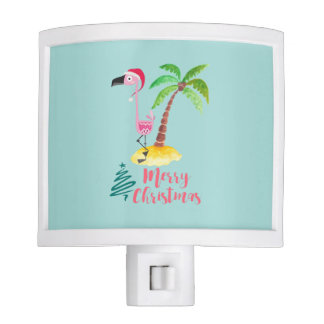 Pink Flamingo In A Santa Hat By A Palm Tree Xmas Night Light