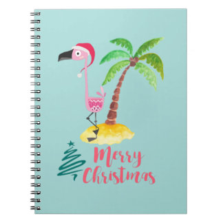 Pink Flamingo In A Santa Hat By A Palm Tree Xmas Notebook