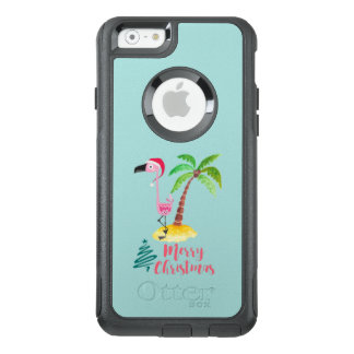 Pink Flamingo In A Santa Hat By A Palm Tree Xmas OtterBox iPhone 6/6s Case