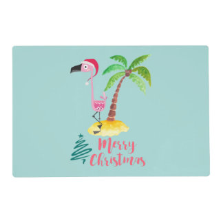 Pink Flamingo In A Santa Hat By A Palm Tree Xmas Placemat