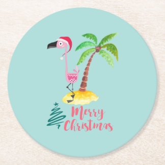 Pink Flamingo In A Santa Hat By A Palm Tree Xmas Round Paper Coaster
