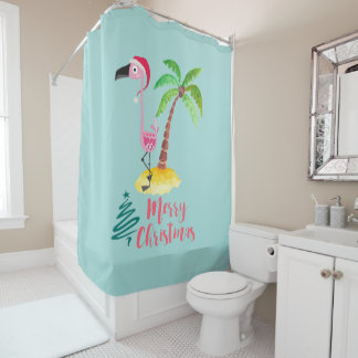 Pink Flamingo In A Santa Hat By A Palm Tree Xmas Shower Curtain