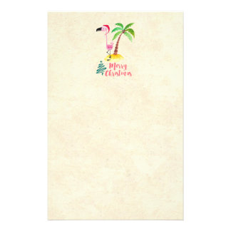 Pink Flamingo In A Santa Hat By A Palm Tree Xmas Stationery