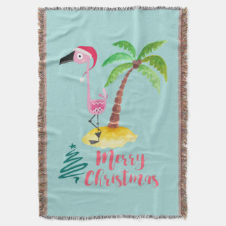Pink Flamingo In A Santa Hat By A Palm Tree Xmas Throw