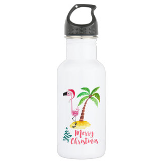 Pink Flamingo In A Santa Hat By A Palm Tree Xmas Water Bottle
