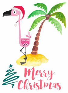 Pink Flamingo In A Santa Hat By Palm Tree Xmas Wood Usb Flash Drive