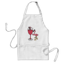 Pink Flamingo in Blush Wine Glass Adult Apron