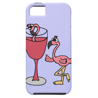Pink Flamingo in Blush Wine Glass iPhone SE/5/5s Case