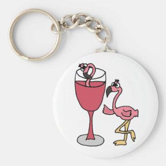 Pink Flamingo in Blush Wine Glass Keychain