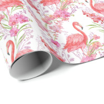 Pink Flamingo in flowers pattern party wrap Wrapping Paper