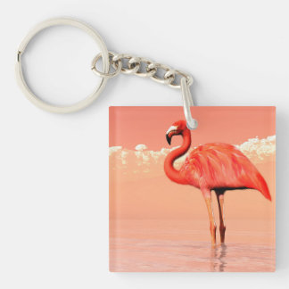 Pink flamingo in the water - 3D render Keychain