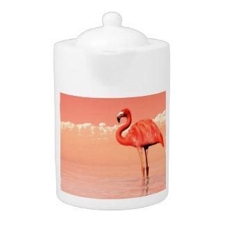 Pink flamingo in the water - 3D render Teapot