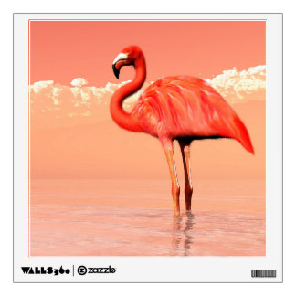 Pink flamingo in the water - 3D render Wall Sticker