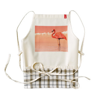 Pink flamingo in the water - 3D render Zazzle HEART Apron