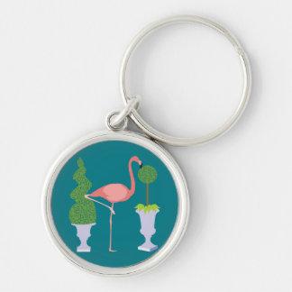 Pink Flamingo in Topiary Garden Keychain
