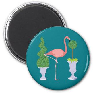 Pink Flamingo in Topiary Garden Magnet