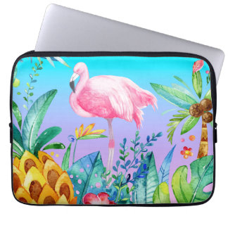 Pink Flamingo In Tropical Forest Computer Sleeve