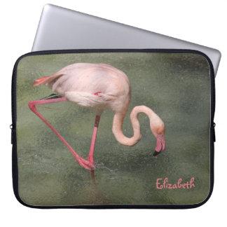 Pink Flamingo in Water Laptop Sleeve