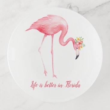 Beach Themed Pink Flamingo Life Is Better in Florida Trinket Trays